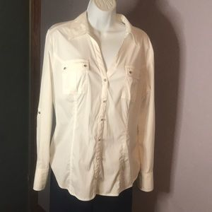 EUC Style & Co Stretch Sz10 Vented LS Shirt